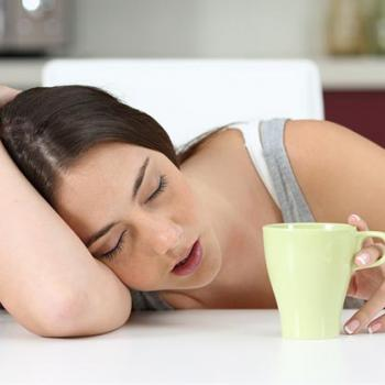 falling asleep with a coffee cup
